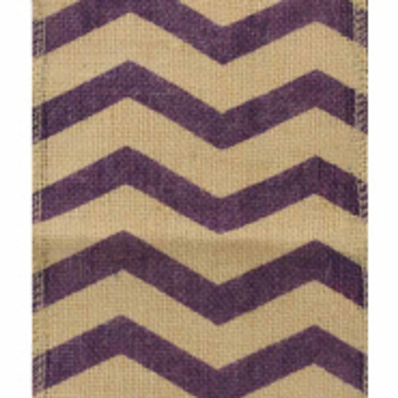 Purple 6 inch Chevron Burlap Ribbons