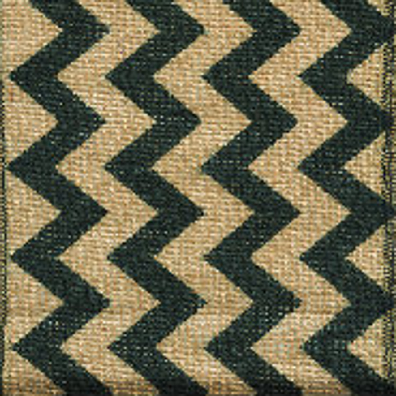 Black Burlap Zag Striped Ribbon