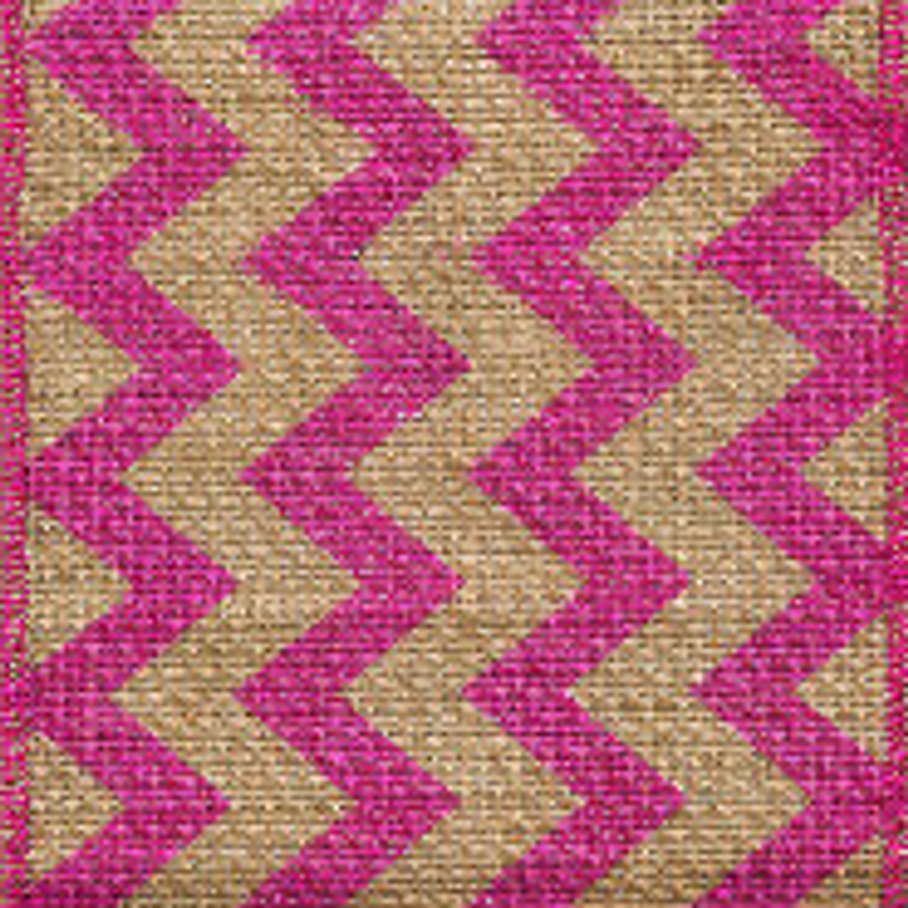 Pink Burlap Zag Striped Ribbon