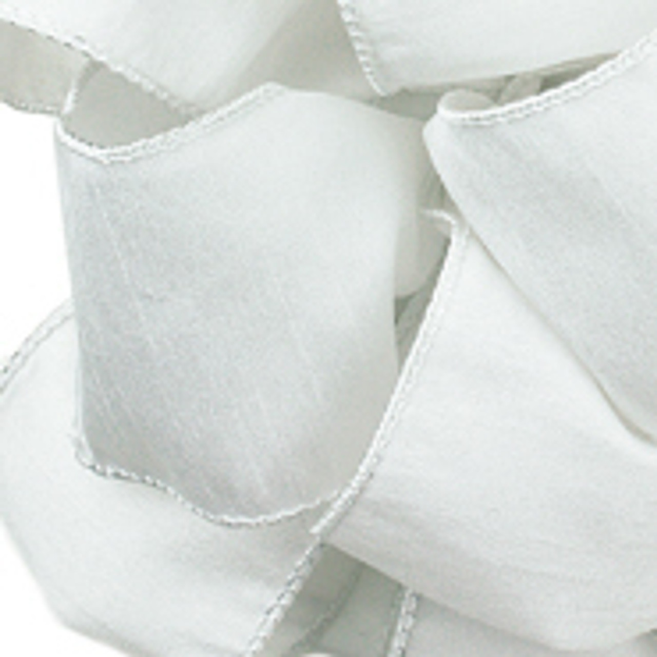 White Anisha Wired Edge Ribbon