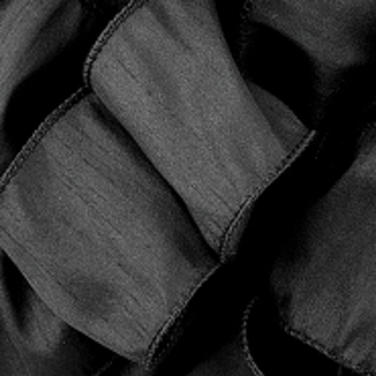 Black Anisha Wired Edge Ribbon