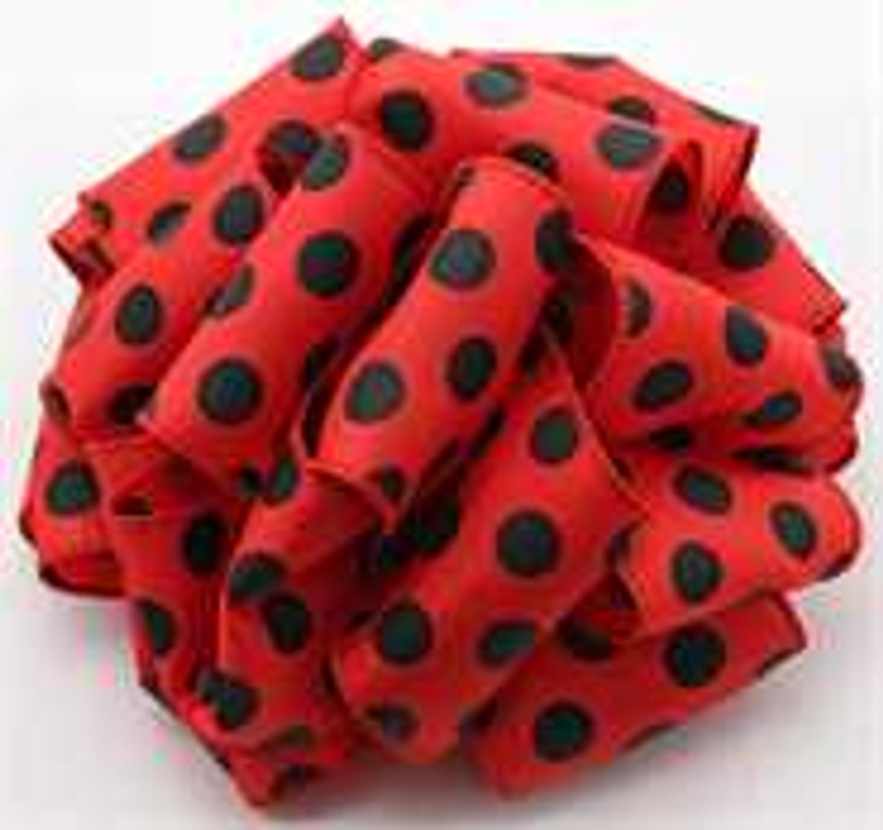 Red and Black Polka Dot Wired Ribbon