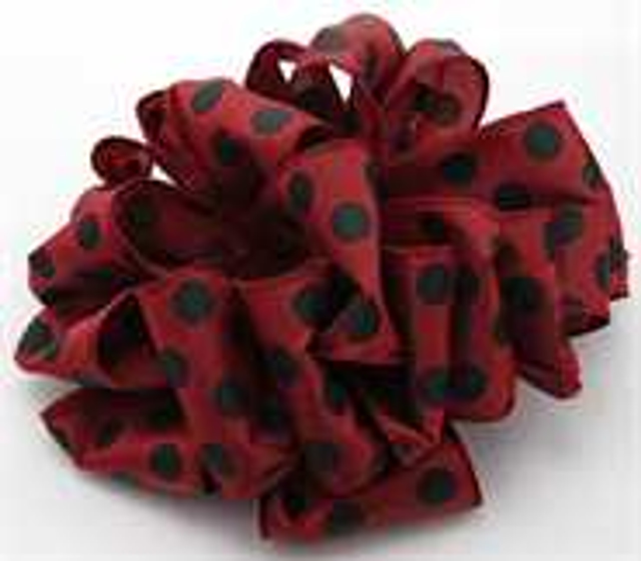 Burgundy and Black Dot Wired Ribbon