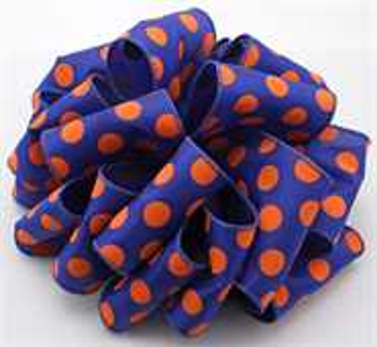 Orange and Blue Dot Wired Ribbon