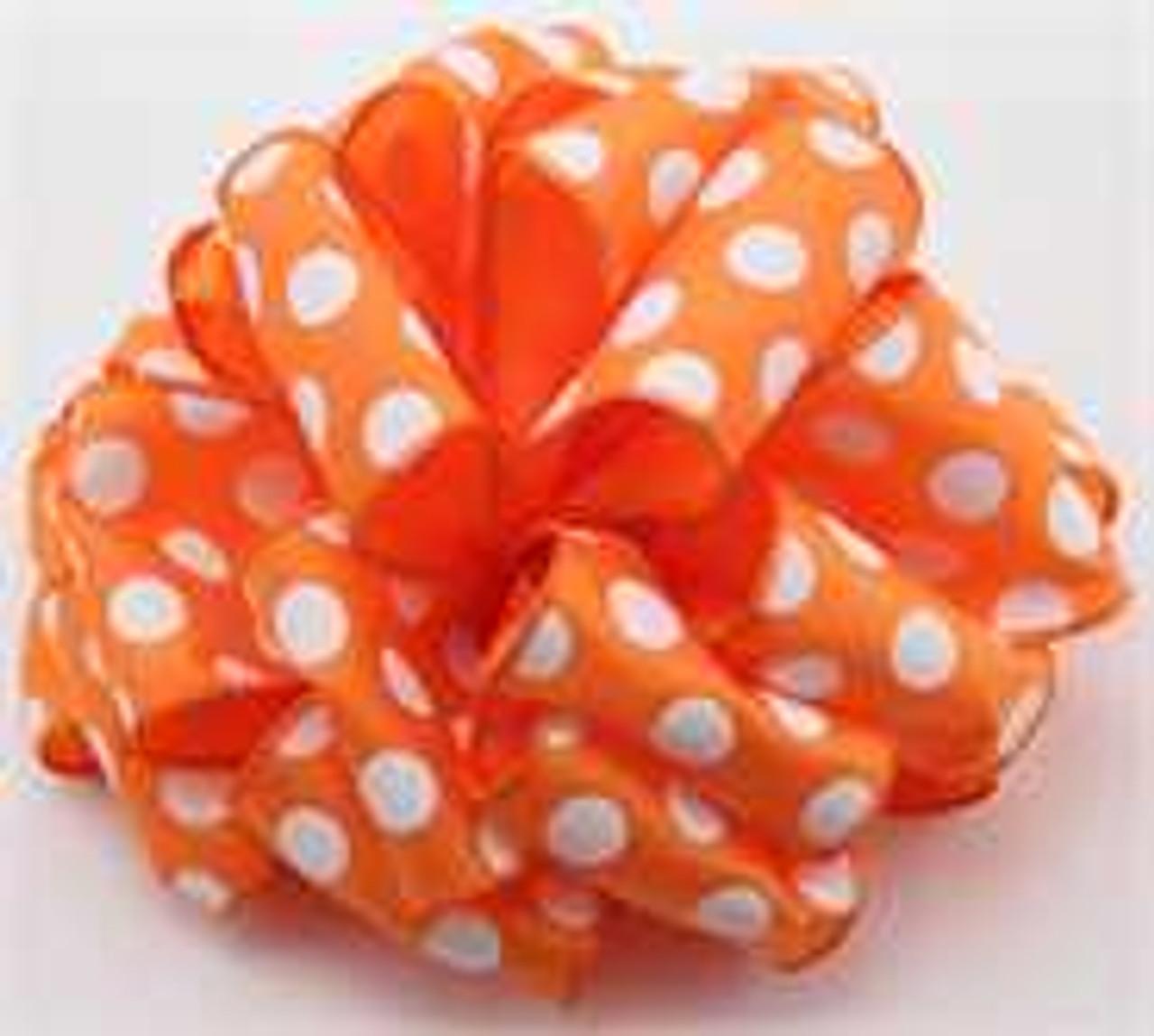 Orange  White Dot Wired Ribbon