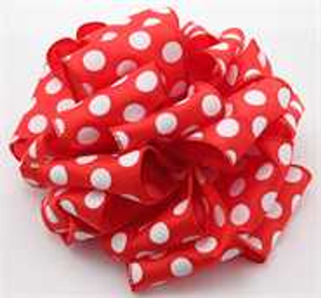 Red White Dot Wired Ribbon