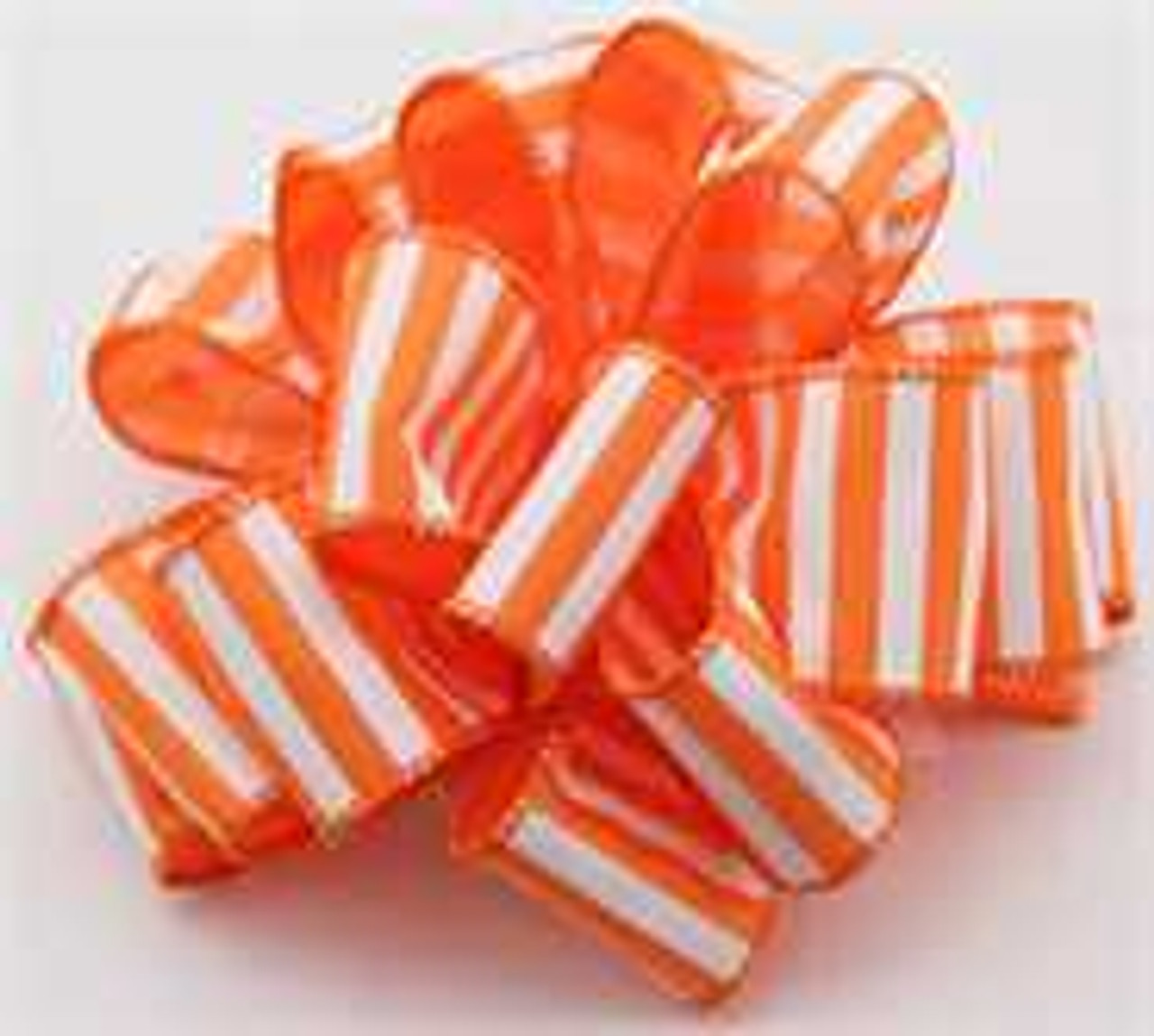 Orange and White Striped Wired Ribbon