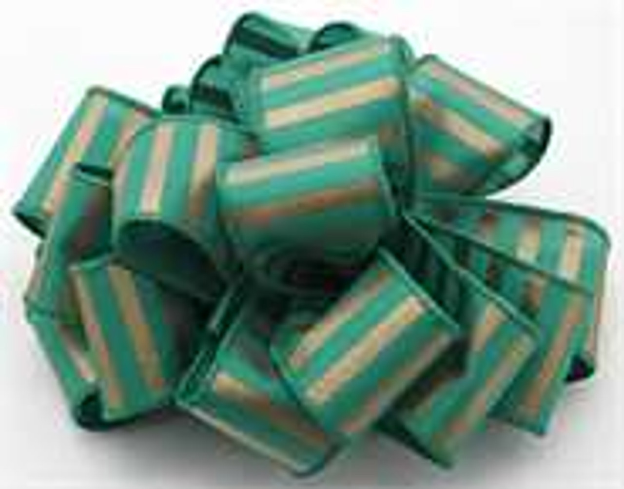 Gold and Emerald Striped Wired Ribbon