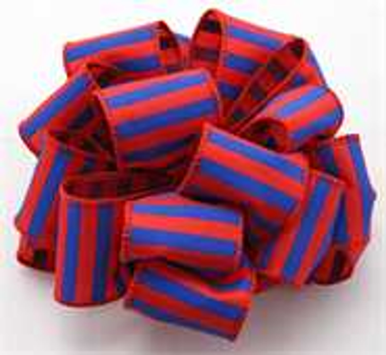 Blue and Red Striped Wired Ribbon