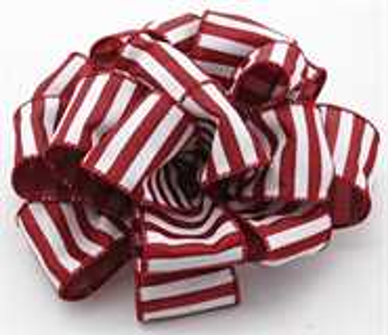 Burgundy and White Striped Wired Ribbon