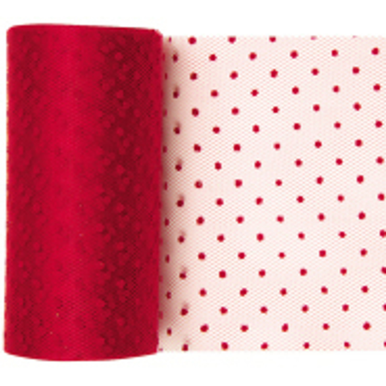 Red Dotted Tulle Fabric