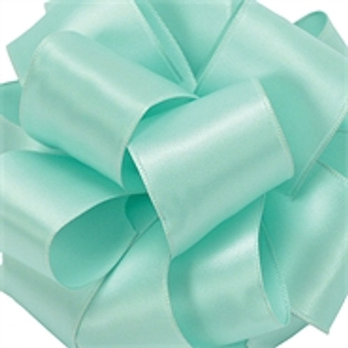 Aqua Wired Satin Ribbon