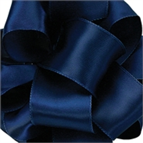 Light Navy Wired Satin Ribbon