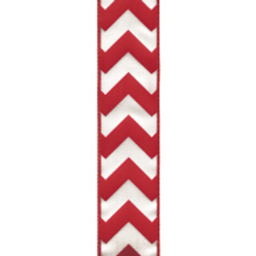Wired Edge Red Chevron Ribbon