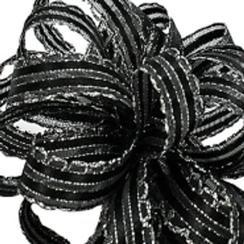 Kendra Black Silver Ribbon