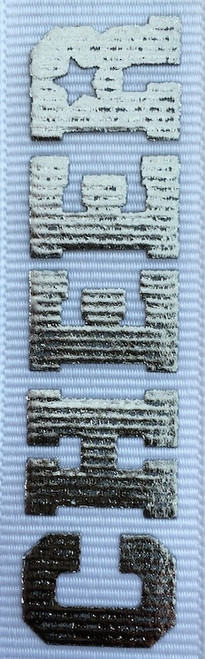 White / Silver Printed Cheer Ribbon
