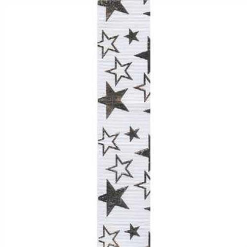 White / Silver Printed Star Ribbon