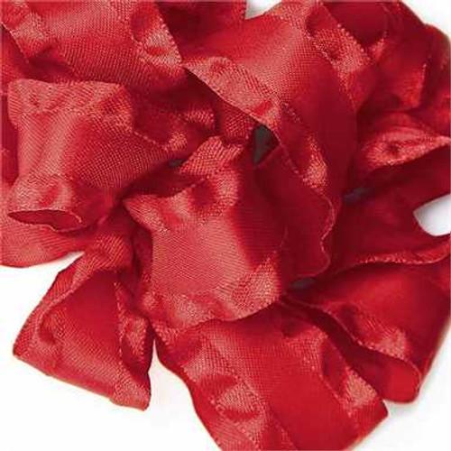 Red double ruffle narrow satin