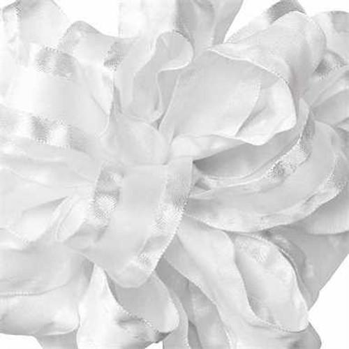 White double ruffle narrow satin