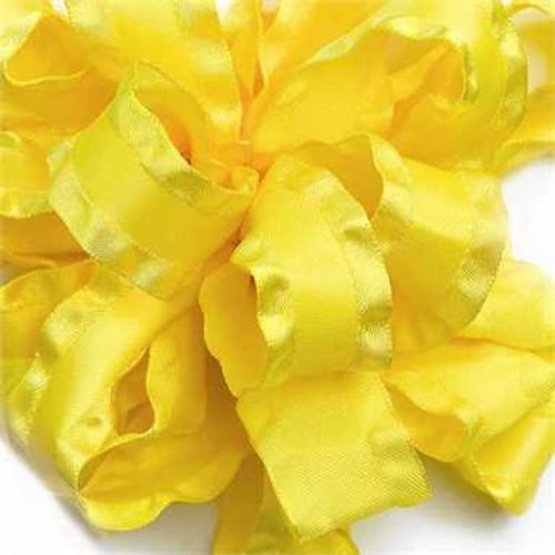 Yellow double ruffle narrow satin