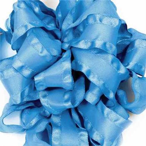 Turquoise double ruffle narrow satin