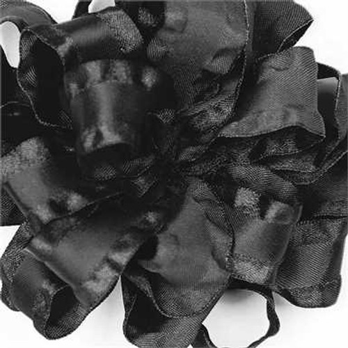 Black double ruffle narrow satin