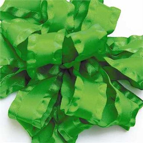 Emerald double ruffle narrow satin