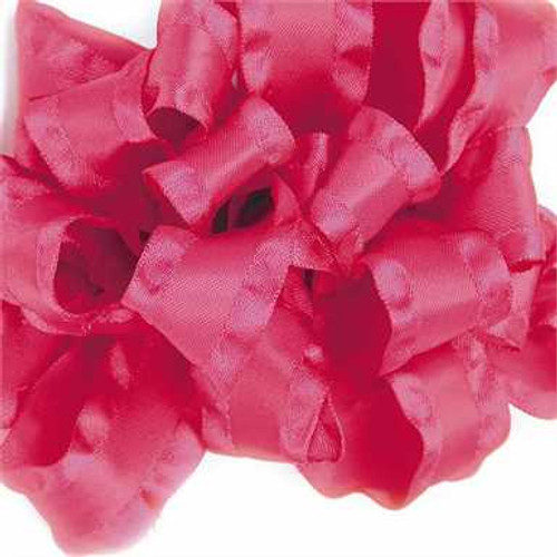Pink double ruffle narrow satin