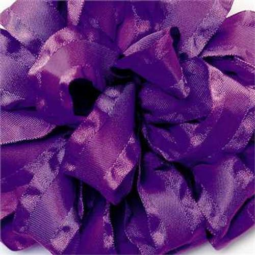Purple double ruffle narrow satin