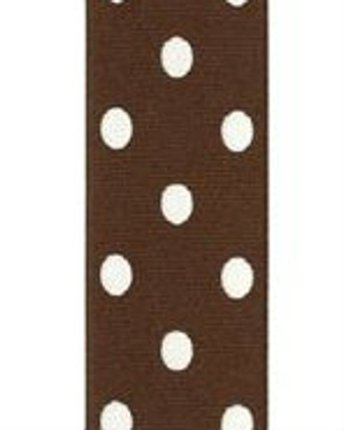 Brown / White Grosgrain Confetti Dots