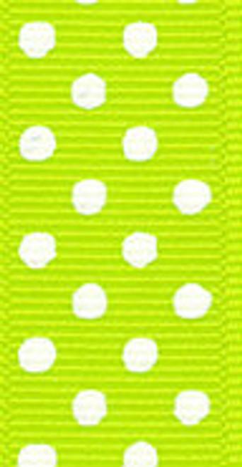 Apple Green / White Grosgrain Confetti Dots