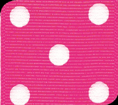 Shocking Pink & White Grosgrain Polka Dots