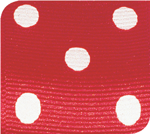 Red / White Grosgrain Polka Dots