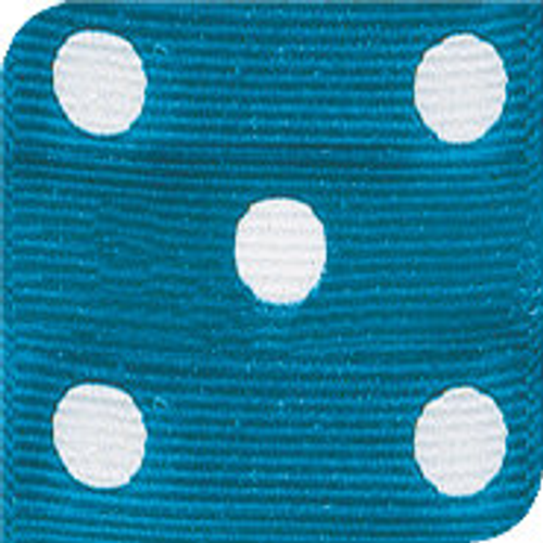 Island Blue / White Grosgrain Polka Dots