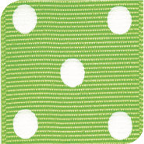 Apple Green / White Grosgrain Polka Dots