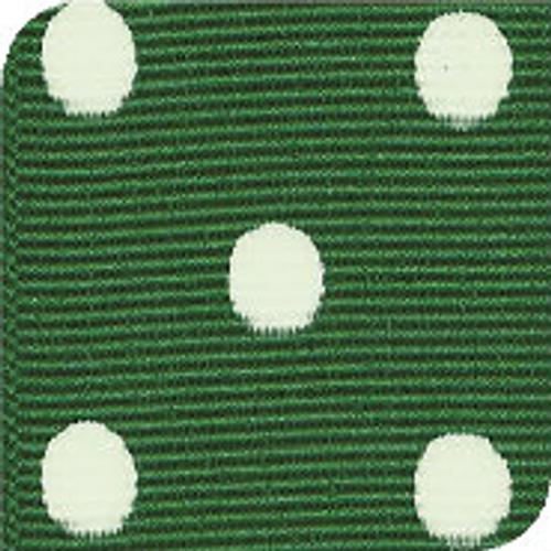 Emerald & White Grosgrain Polka Dots