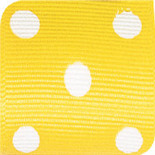 Maize / White Grosgrain Polka Dots