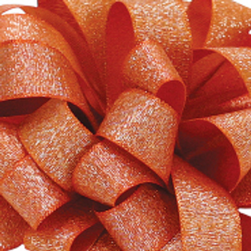 Mandarin Orange Satin Glitter Ribbon