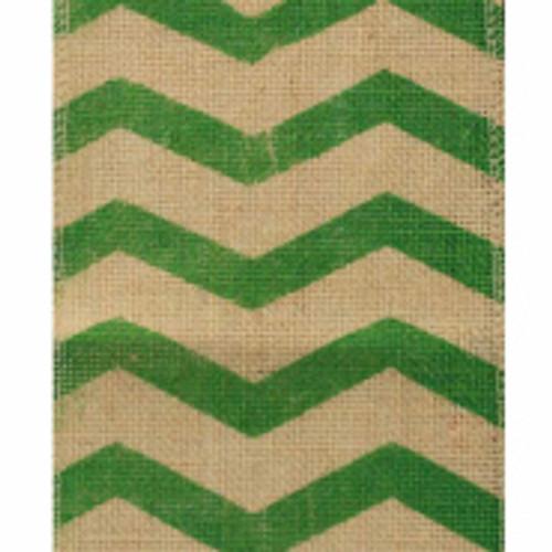 Green Chevron Burlap Ribbon