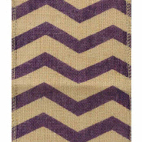 Purple 6 inch Chevron Burlap Ribbons