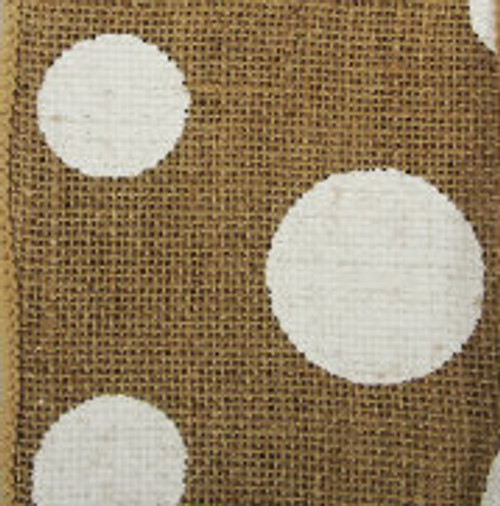 Natural Wired Edge Burlap Dots