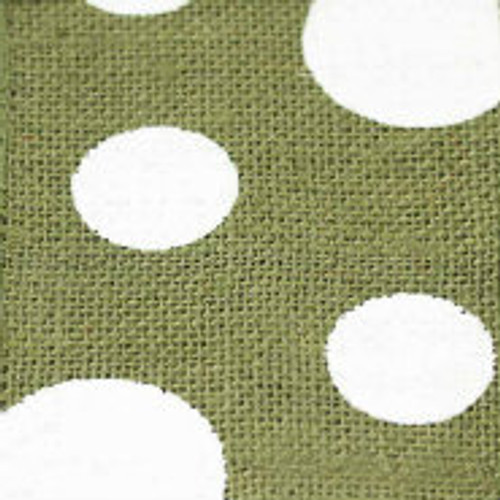 Sage Wired Edge Burlap Dots