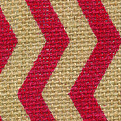 Red Burlap Zag Striped Ribbon