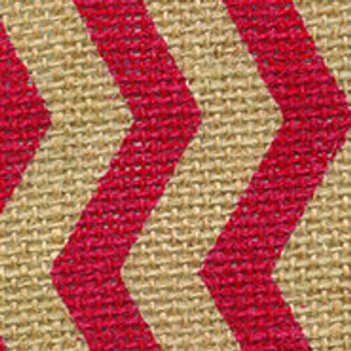 Red Burlap Zag Striped Ribbon