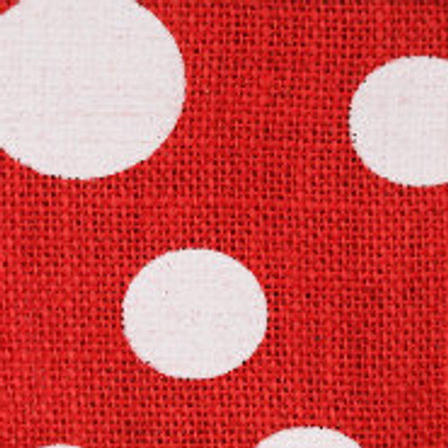 Red Wired Edge Burlap Dots