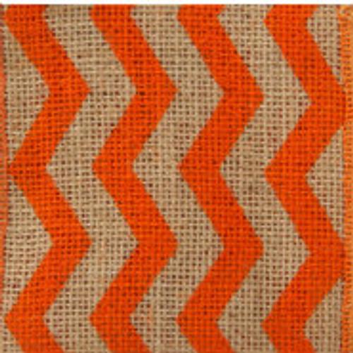 Orange Burlap Zag Striped Ribbon