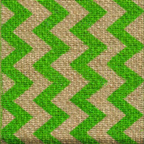 Green Burlap Zag Striped Ribbon