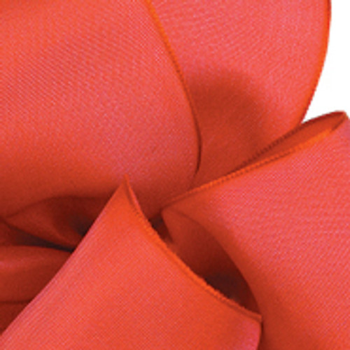 Red Coral Wired Woven Ribbon