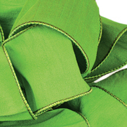 Parrot Green Anisha Wired Edge Ribbon