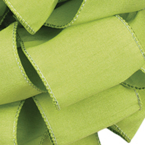 Clean Green Anisha  Wired Edge Ribbon